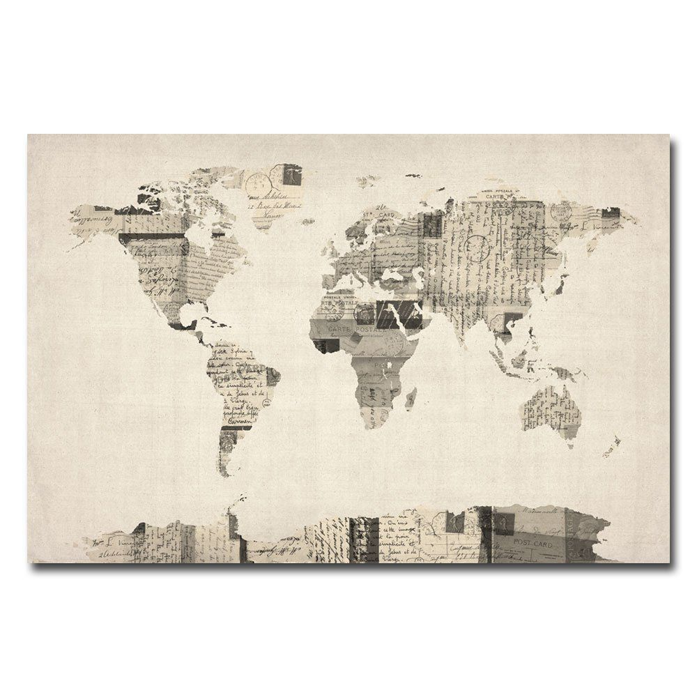 Amazon trademark fine art vintage postcard world map by michael amazon trademark fine art vintage postcard world map by michael tompsett canvas wall gumiabroncs Image collections