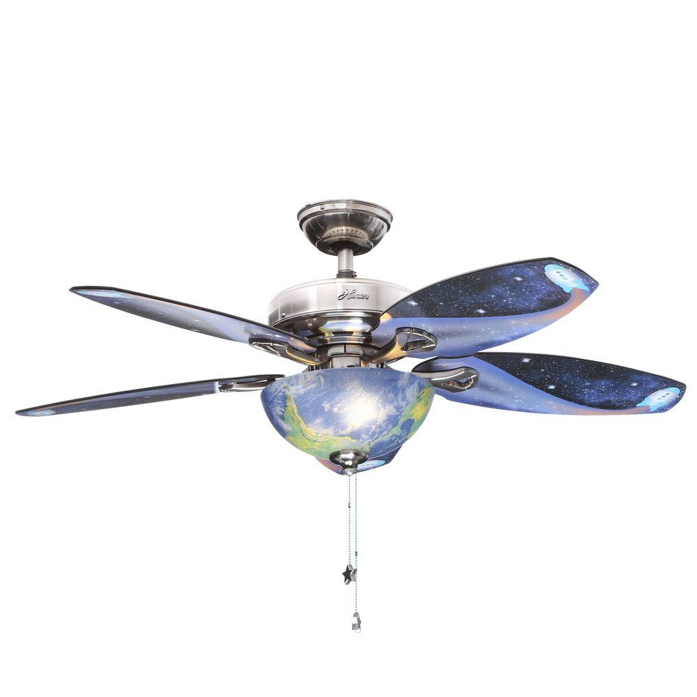 Hunter Discovery 48 In Led Indoor Brushed Nickel Ceiling Fan With Light Kit 52298 In 2020 Brushed Nickel Ceiling Fan Ceiling Fan Kids Ceiling Fans