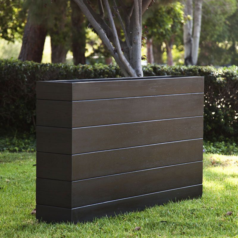 Madera Rectangle Planter Boxes Outdoor Planters With Faux Wood Finish Rectangle Planters Rectangle Planter Box Commercial Planters