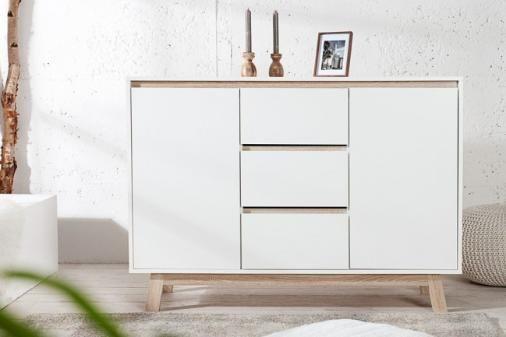 Moderne Design Kommode STOCKHOLM Weiß Highboard mit wendbarer Für