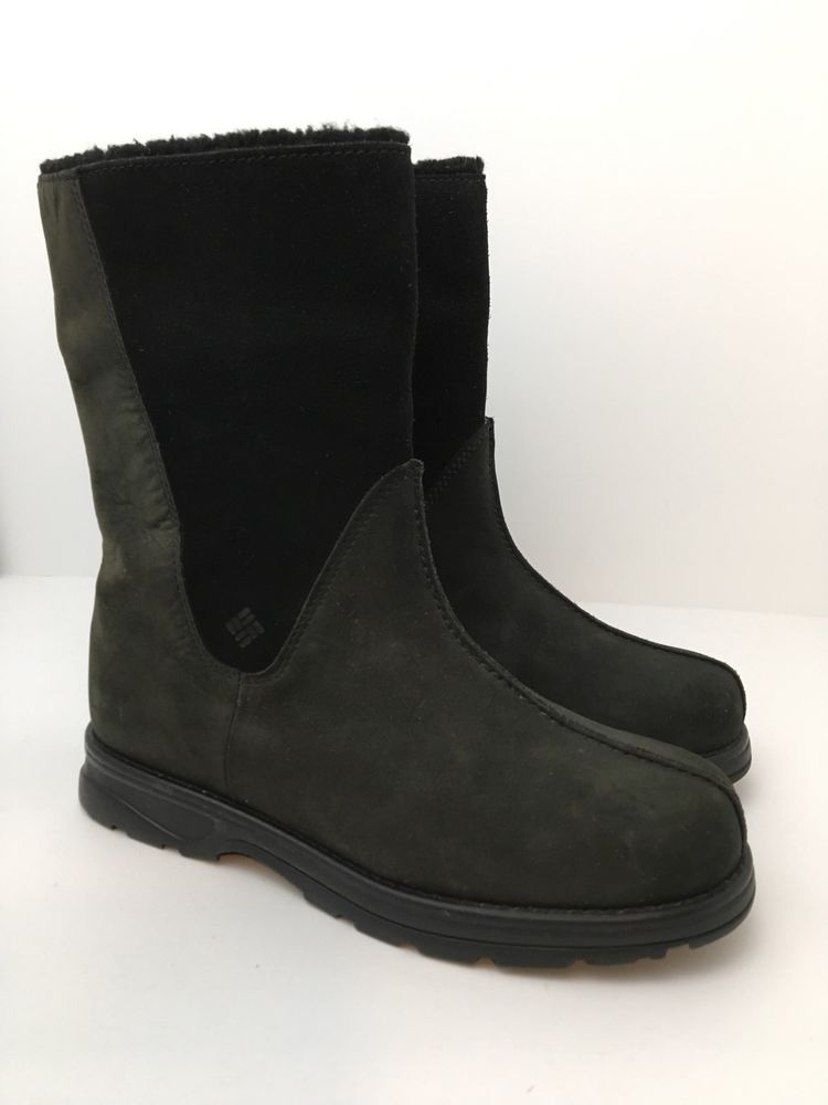 Columbia Boots Black Suede Leather Waterproof Womens Size 8 Shirebrook  Excellent  Columbia  MidCalfBoots 1b6a454518f8