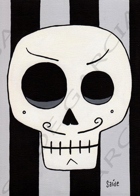 Day of the Dead Rebel Boyfriend Skull Original Print 5x7 by saide, $5.00