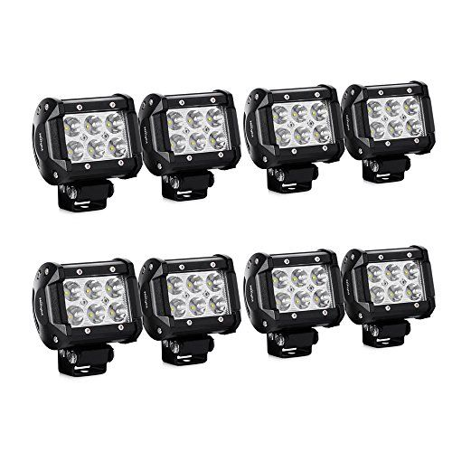 white bar with lights nilight led light bar 8pcs 18w 1260lm spot led pods driving fog