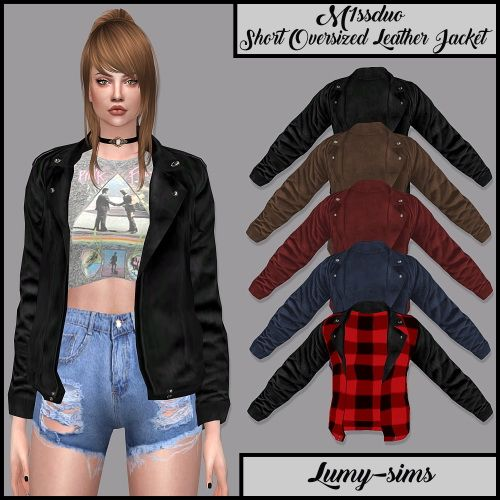 Download Shorter: LumySims: Short Oversized Leather Jacket