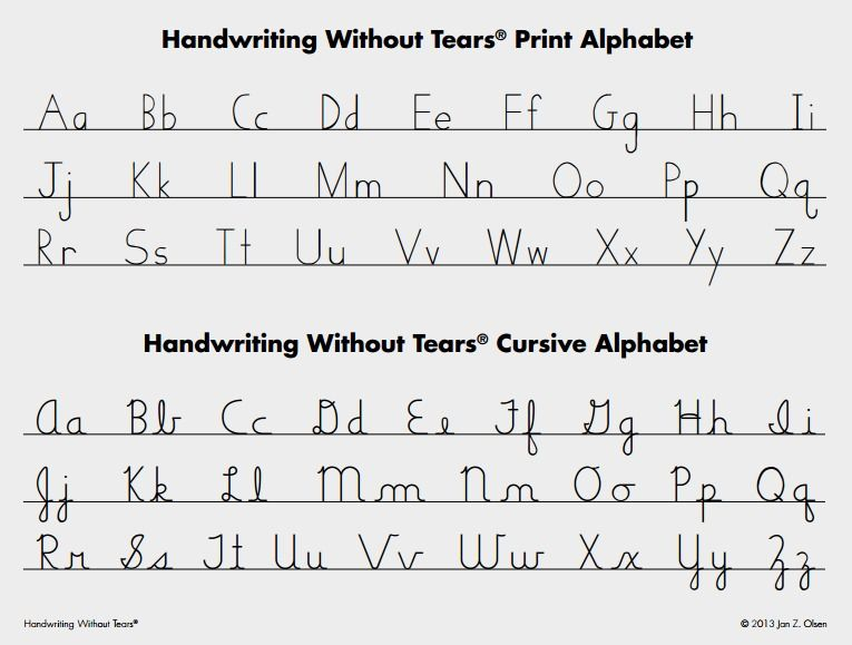 A Print And Cursive Letter Alphabet Homeschool Writing Handwriting Without Tears Phonics Lessons