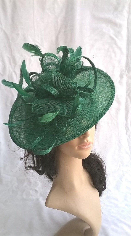 Emerald Green Fascinator.Stunning Emerald green Sinamay Shaped disc  Fascinator with double swirls  54f691792ae
