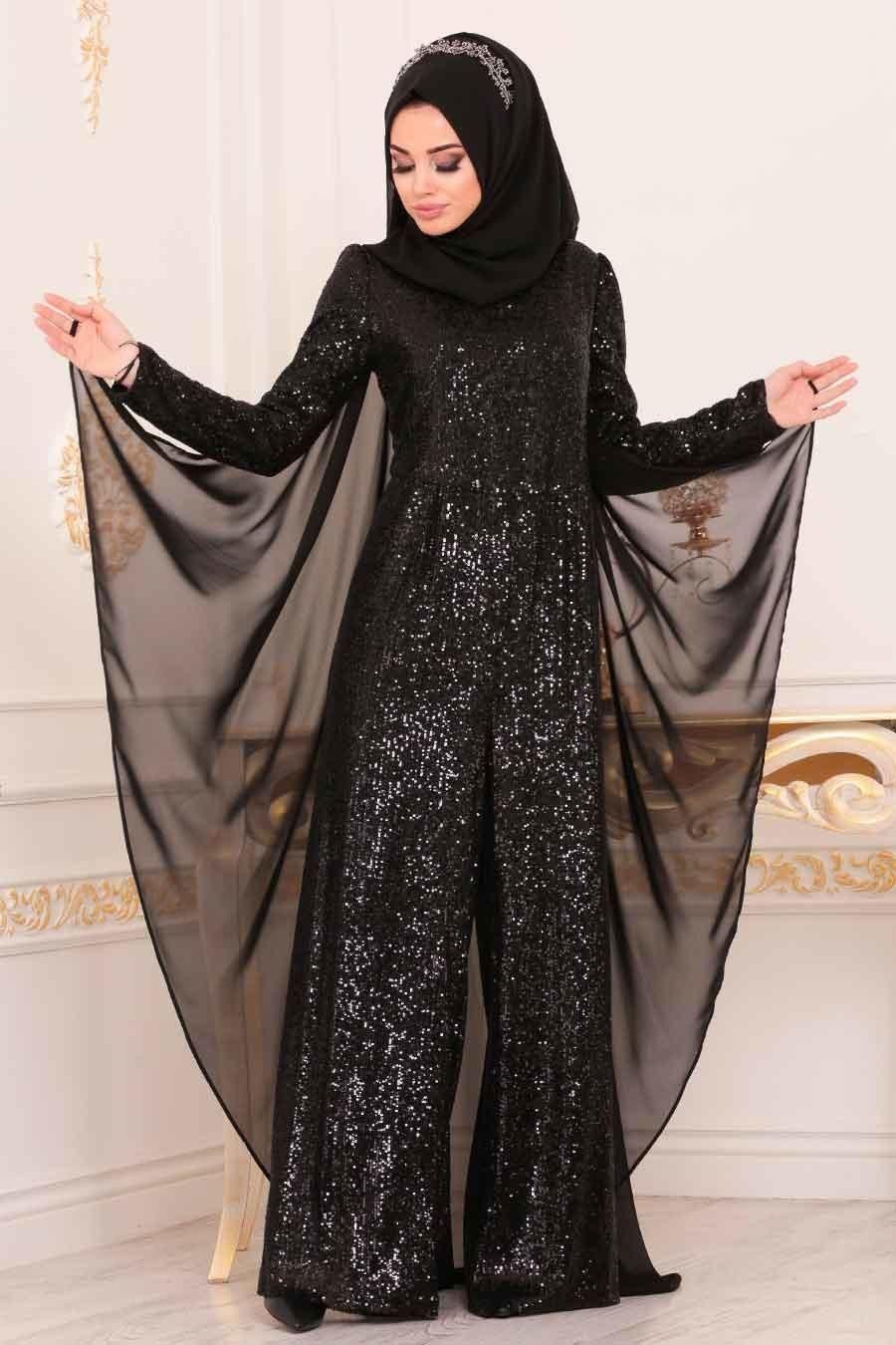 Tesetturlu Abiye Elbise Pul Payetli Siyah Tesettur Abiye Tulum 38870s Tesetturisland Com Elbise Moda Stilleri Giyim