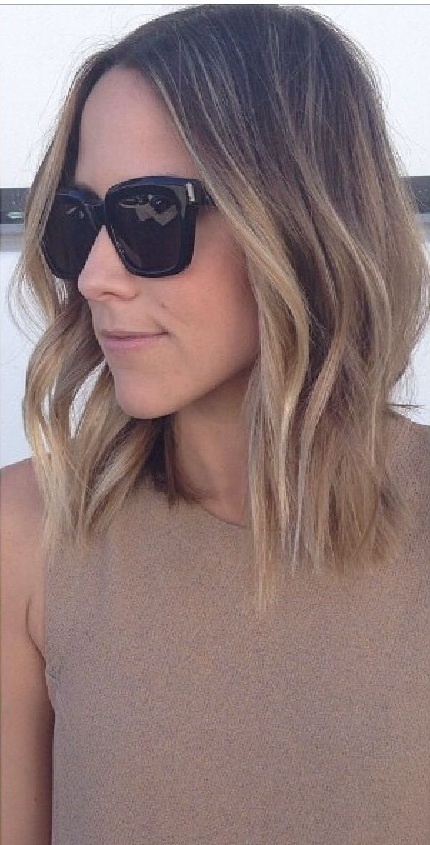 Blonde lob with light ends - I like the bluntness at the ends