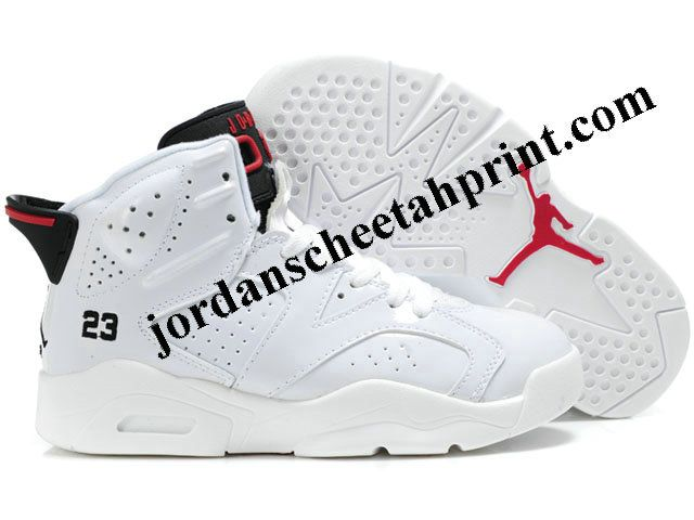 Nike Air Jordan 6 Shoes Kids White/Black/Red For Sale