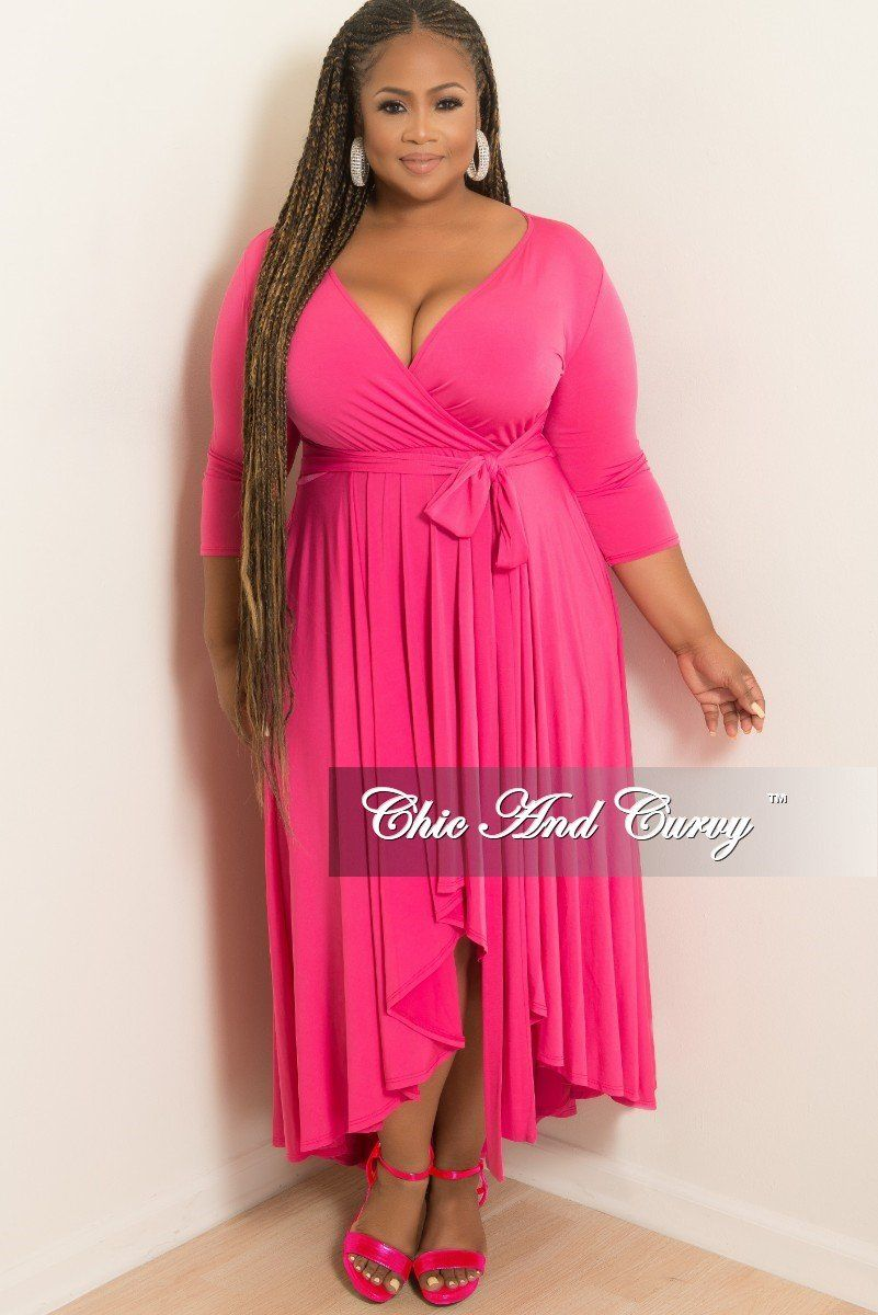 New Plus Size Faux Wrap High-Low Dress with Attached Tie in Hot Pink ...