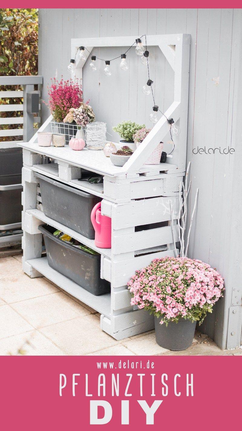 Paletten Pflanztisch DIY Garten - delari - Anleitung #palettenideen