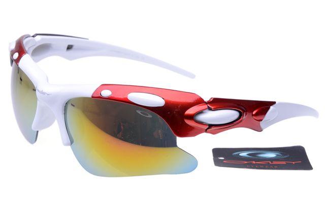 Oakley Polarized Hijinx Sunglasses Red White Frame Colorful Lens 0875
