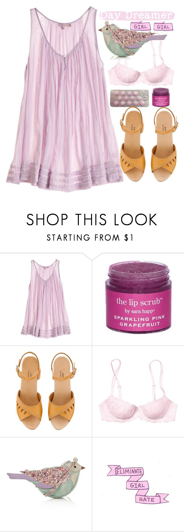 """""""The dreaming ones"""" by sazyc ❤ liked on Polyvore featuring Calypso St. Barth, Sara Happ, A.P.C., Victoria's Secret PINK, Mantaray, cute, Pink, sweet and girly"""