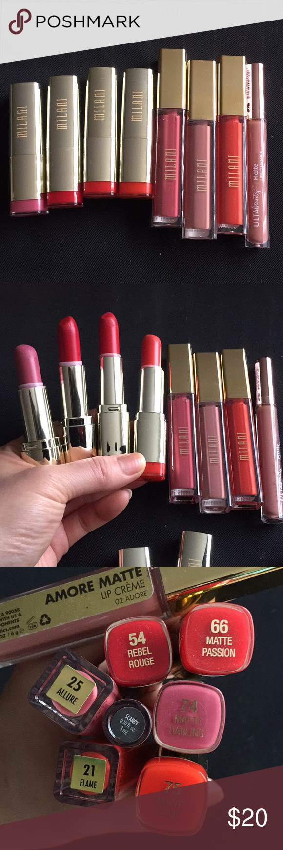 7 milani lipsticks bundle+one free Ulta! 7 milani lip products bundle+free Ulta Matte liquid lipstick in color Scandy!! There are 3 Milani statement lipsticks& 1 not Matte, all used but still lotta life left!! Also 3 milani Amore Matte liquid lip creme, 2 of them( allure & flame) just swatched never used. Please see photos for usages and colors!! Milani Makeup Lipstick