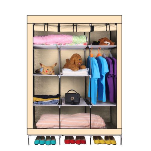 4-Colors-69-034-Portable-Closet-Storage-Organizer-Clothes-Wardrobe-Shoe-Rack-Shelves