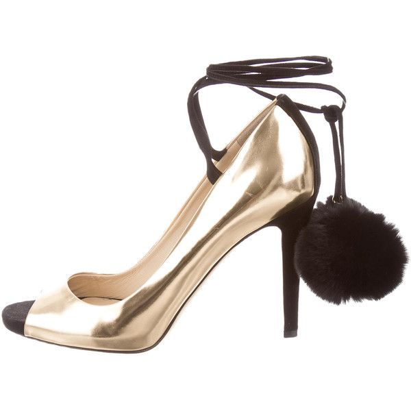 Pre-owned Jimmy Choo Metallic Peep-Toe Pumps ($195) ❤ liked on Polyvore featuring shoes, pumps, metallic, black shoes, black tie shoes, jimmy choo, peep-toe shoes and pre owned shoes