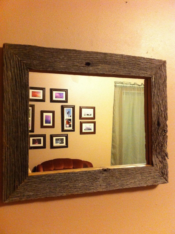 Reclaimed Rustic Barn Wood Frame Mirror reclaimed wood. $49.00, via ...