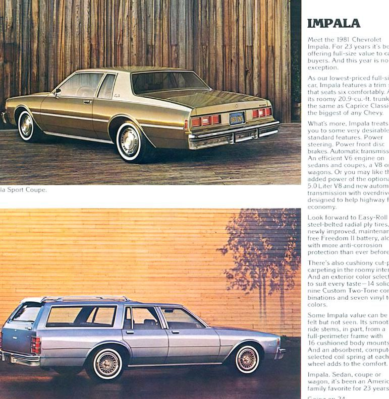 1981 Chevrolet Impala Sport Coupe And Impala Station Wagon In 2020 Chevrolet Impala Impala Chevrolet