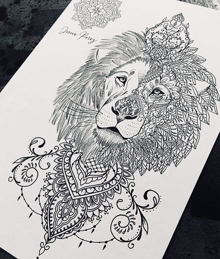 Lion Tattoo Idea Peony Flowers Mandala Lace 5