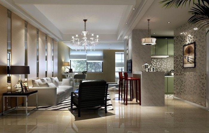 offene Küche und Wohnzimmer mit modernem Möbel, ein Zebra Teppich - ideen offene kuche wohnzimmer
