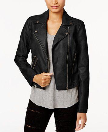 Coffeeshop Faux Leather Buckled Moto Jacket Macys Com Jackets Moto Jacket Juniors Jackets