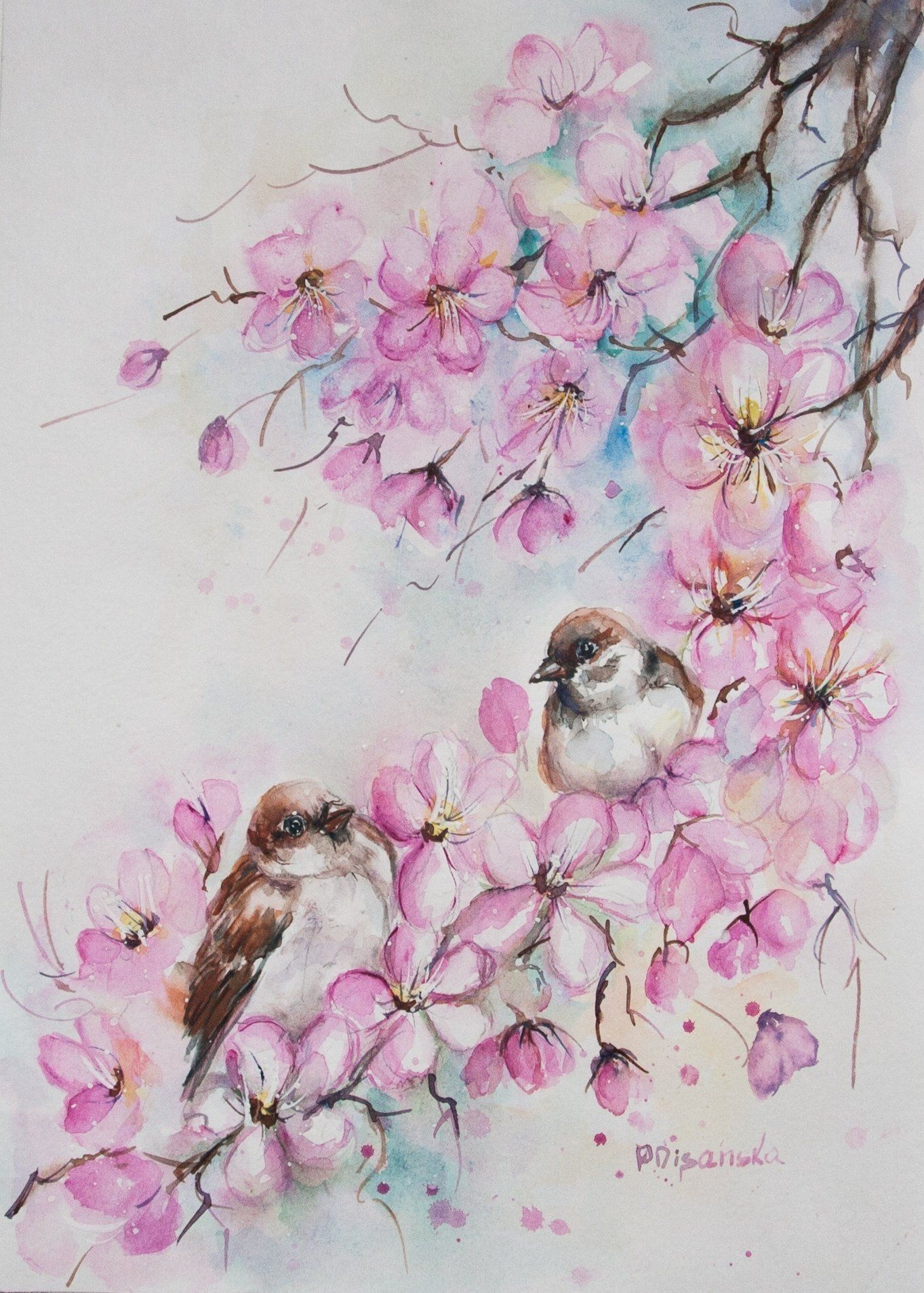 Bird Painting Original Watercolor Blossom Painting Bird On A