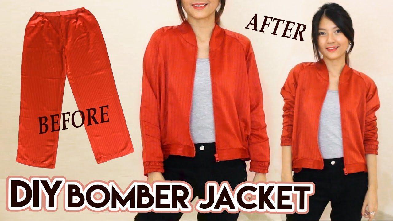 DIY Turn Old Pants Into Bomber Jacket | Satin Raglan Jacket ...