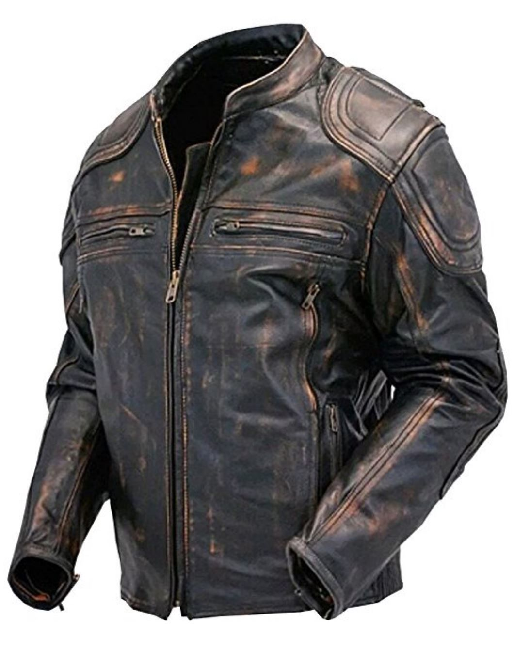 Herrenmode White Real Genuine Leather Jacket For Men Biker Retro Sheep Skin Cafe Racer Kleidung & Accessoires