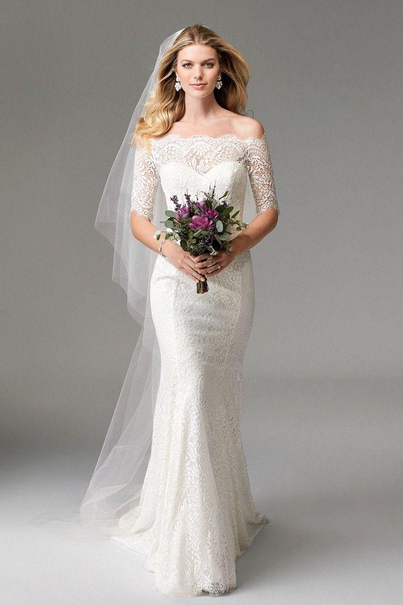 Brautkleid 3/4-Ärmel, Hochzeitskleid mit langen Ärmeln, Spitze ...