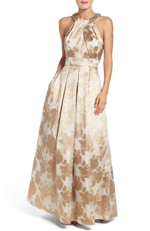Eliza J Embellished Floral Jacquard Fit & Flare Gown   My Style ...