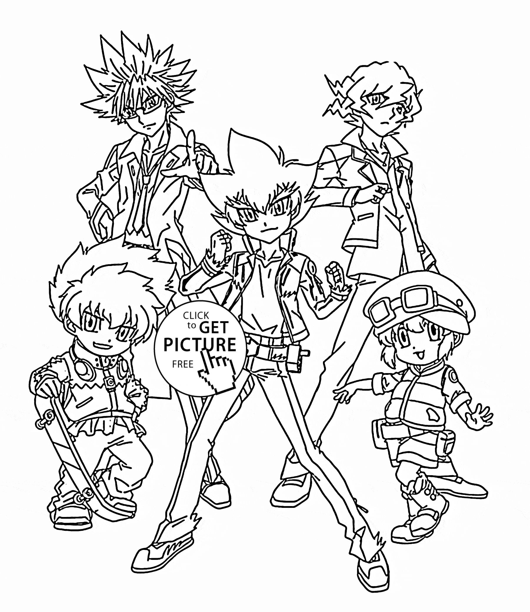 Beyblade Coloring Pages Beyblade Team Coloring Page For Kids Manga