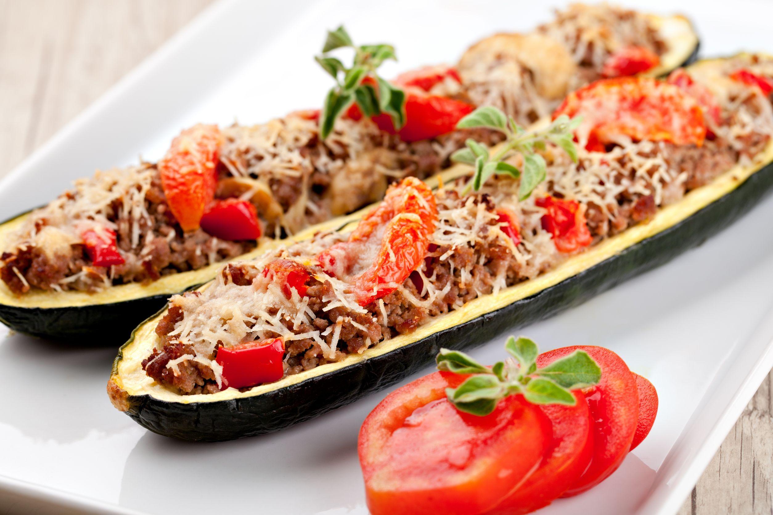 Veggie Boats: Sausage-Stuffed Zucchini