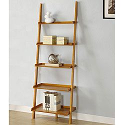 Oak Five Tier Leaning Ladder Shelf