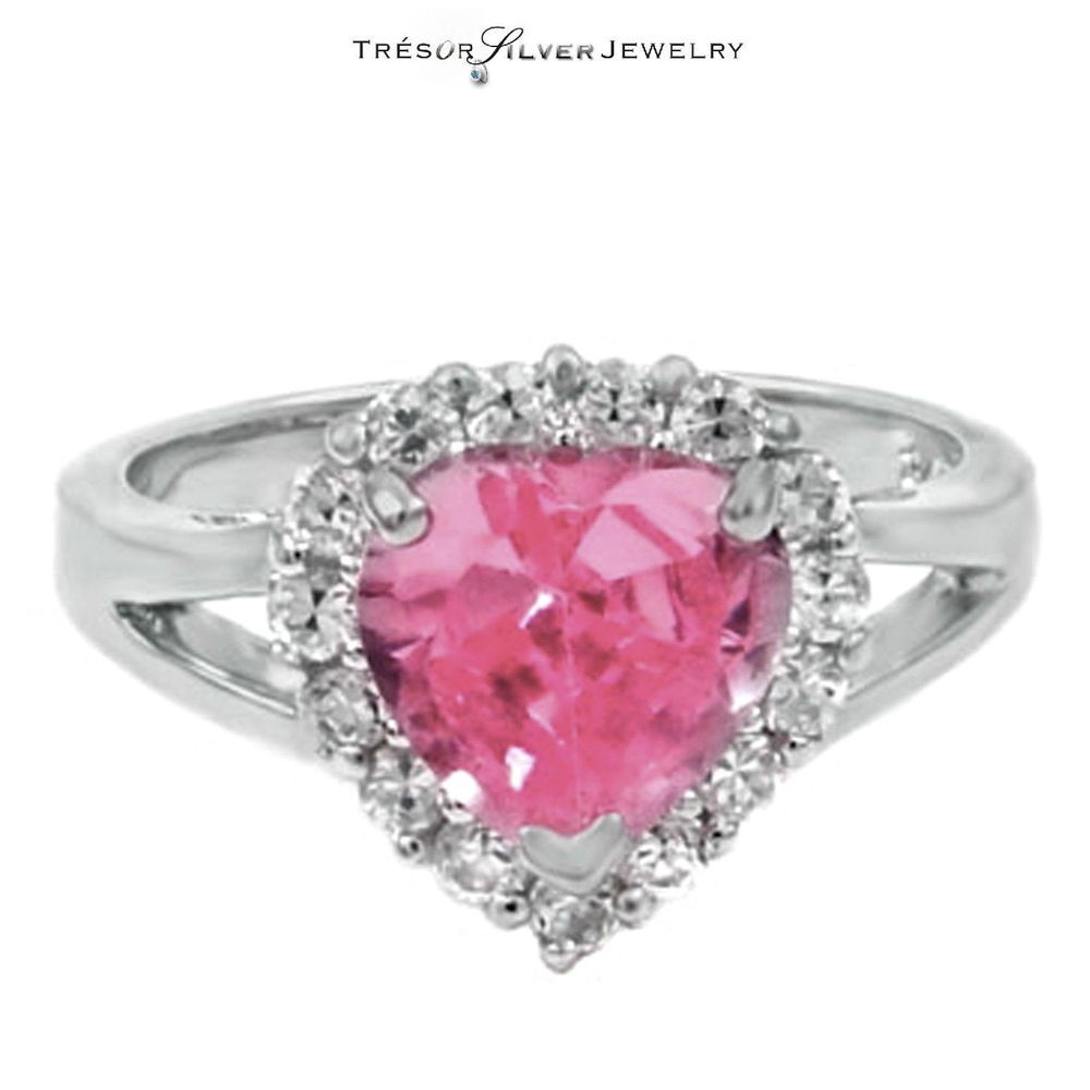 pink and clear cz heart shaped sterling silver promise ring size 5 6 ...