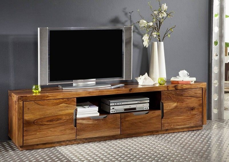 Tv Board Holz Tv-board Sheesham 200x45x50 Walnuss Lackiert Duke #123 In ...