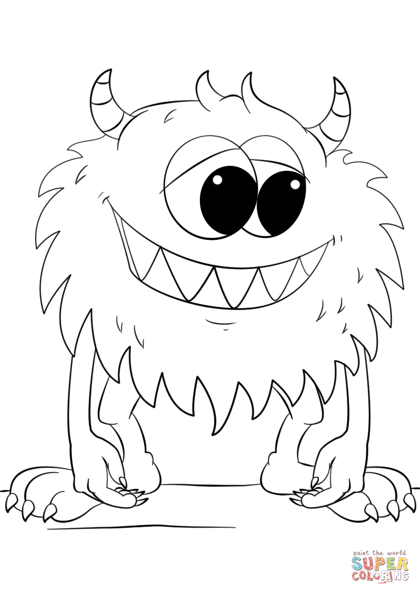 Cute Cartoon Monster coloring page from Monsters category ...