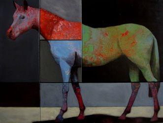 Brian Hibbard, Horse 216 Mixed Media On Canvas, 36 x 48