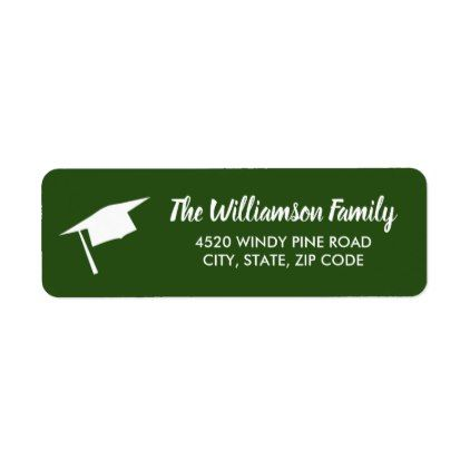 Graduation Cap Custom Color Return Address Label - script gifts