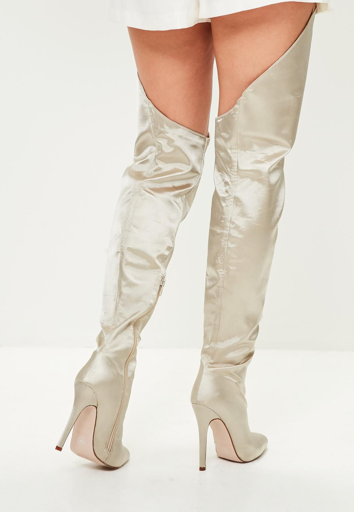 70a2183e7de Missguided - Beige Satin Over The Knee Boots