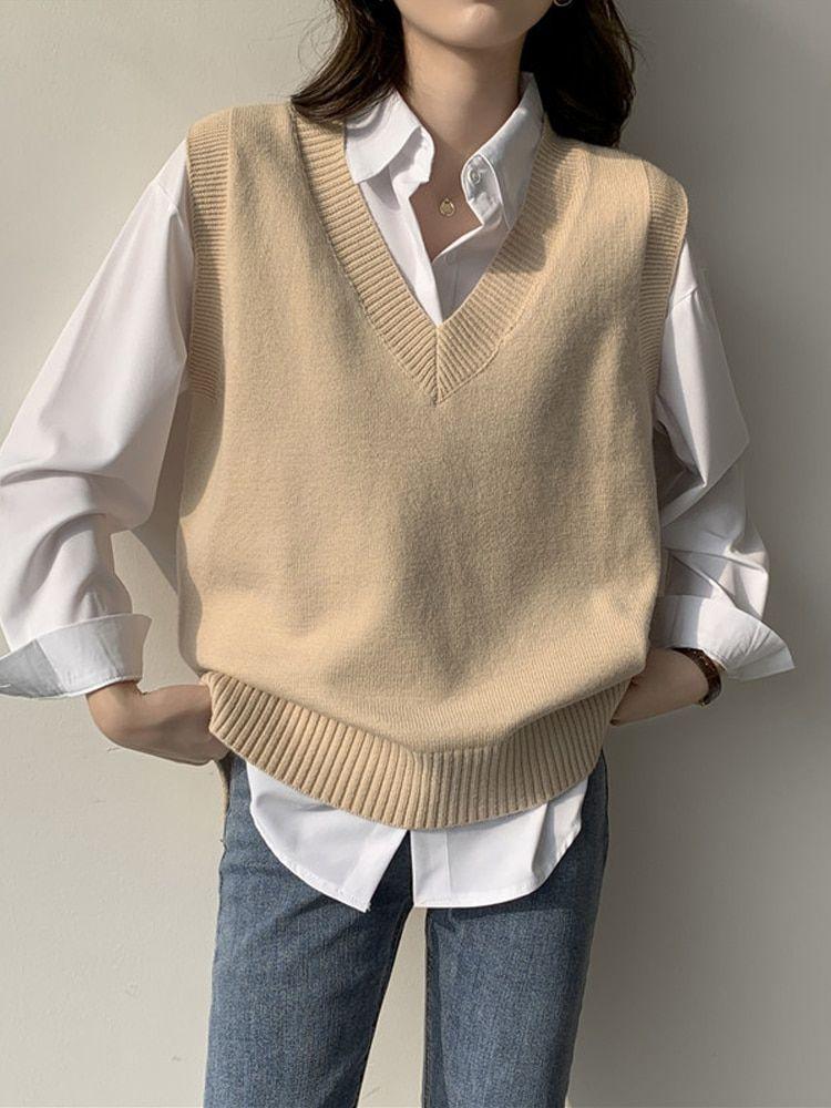 7.99US $ 49% OFF|2020 gestrickte Westen Frauen V ausschnitt Kurze Stil Solide Grund Outwear Beiläufige Bunte Westen Frauen Ärmellose Wolle Alle spiel Neue|Vests & Waistcoats|   - AliExpress