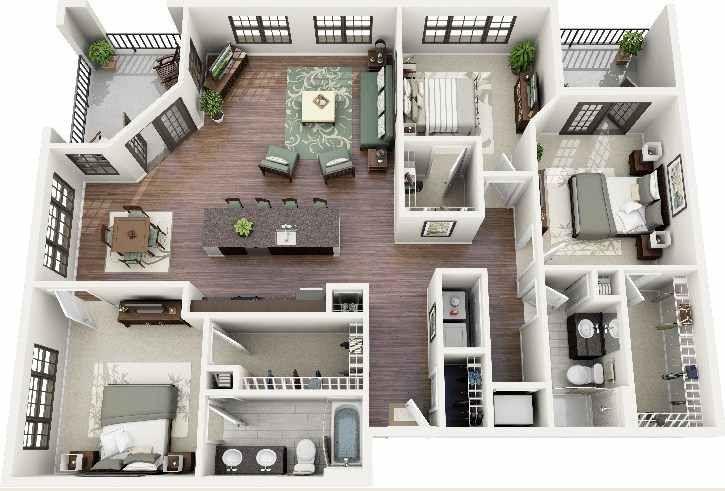 denah rumah minimalis 3 kamar tidur warna putih