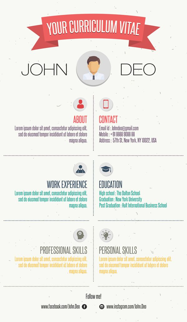 Free Curriculum Vitae   Resume Template #resumetemplate - infographic resume template