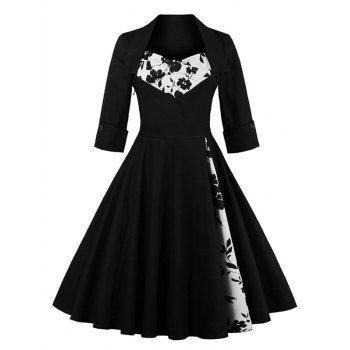Knee Length Floral Flare Corset Dress Vintage Red Dress Vintage Dress 60s Vintage Dresses