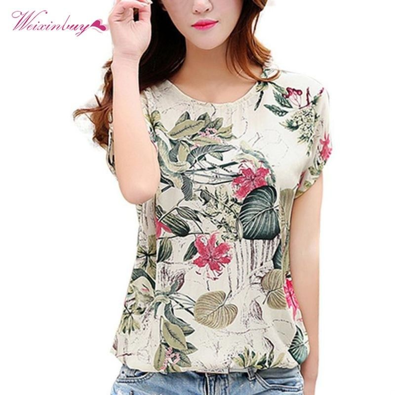 8a22c00c40fcde Fashion Women Blouses Floral Print Ladies Shirts Summer Casual Short Sleeve Blouse  Tops 2019 New O-neck Shirt blusas Plus Size