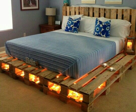 Pallet bedframe with fairy lights   Pallet bed with lights ...