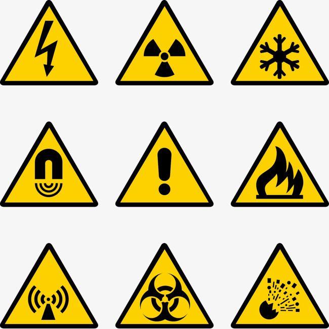 Señales de advertencia de seguridad en las obras de vectores de ...