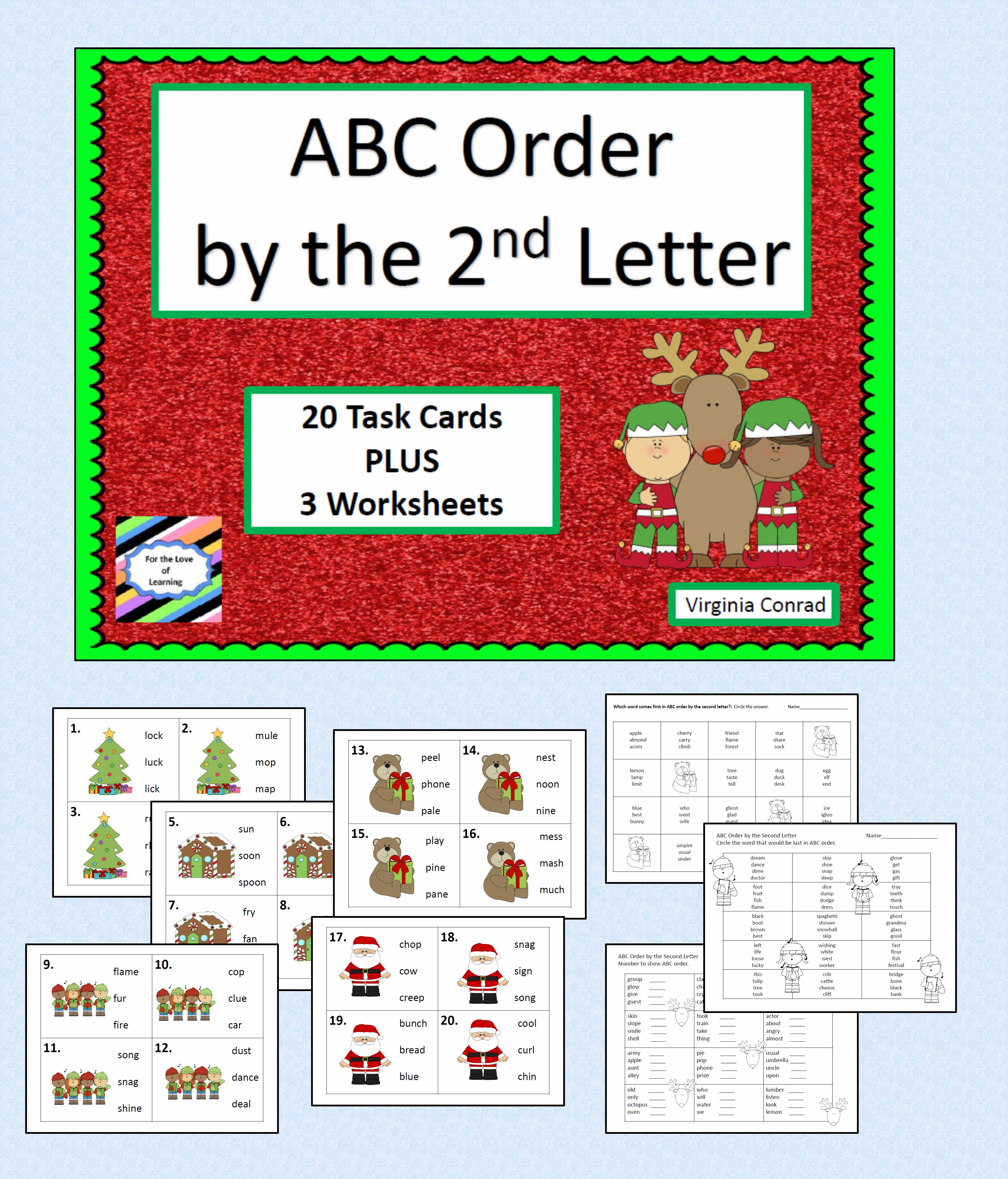 Task Cards And Worksheets For Alphabetizing Words By The Second Letter Christmas Graphics Dress Everything Up Abc Order Lettering Letter Worksheets [ 5376 x 4598 Pixel ]