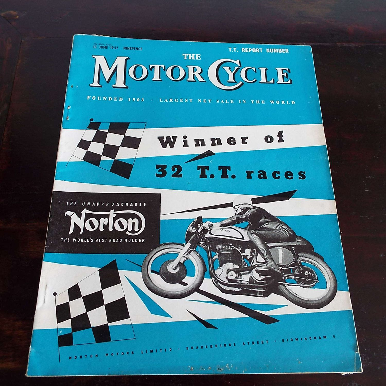 Vintage 1957 The Motor Cycle Magazine T T Report Motor Cycle Racing Motor Bike Racing Norton by VintageBlackCatz on Etsy