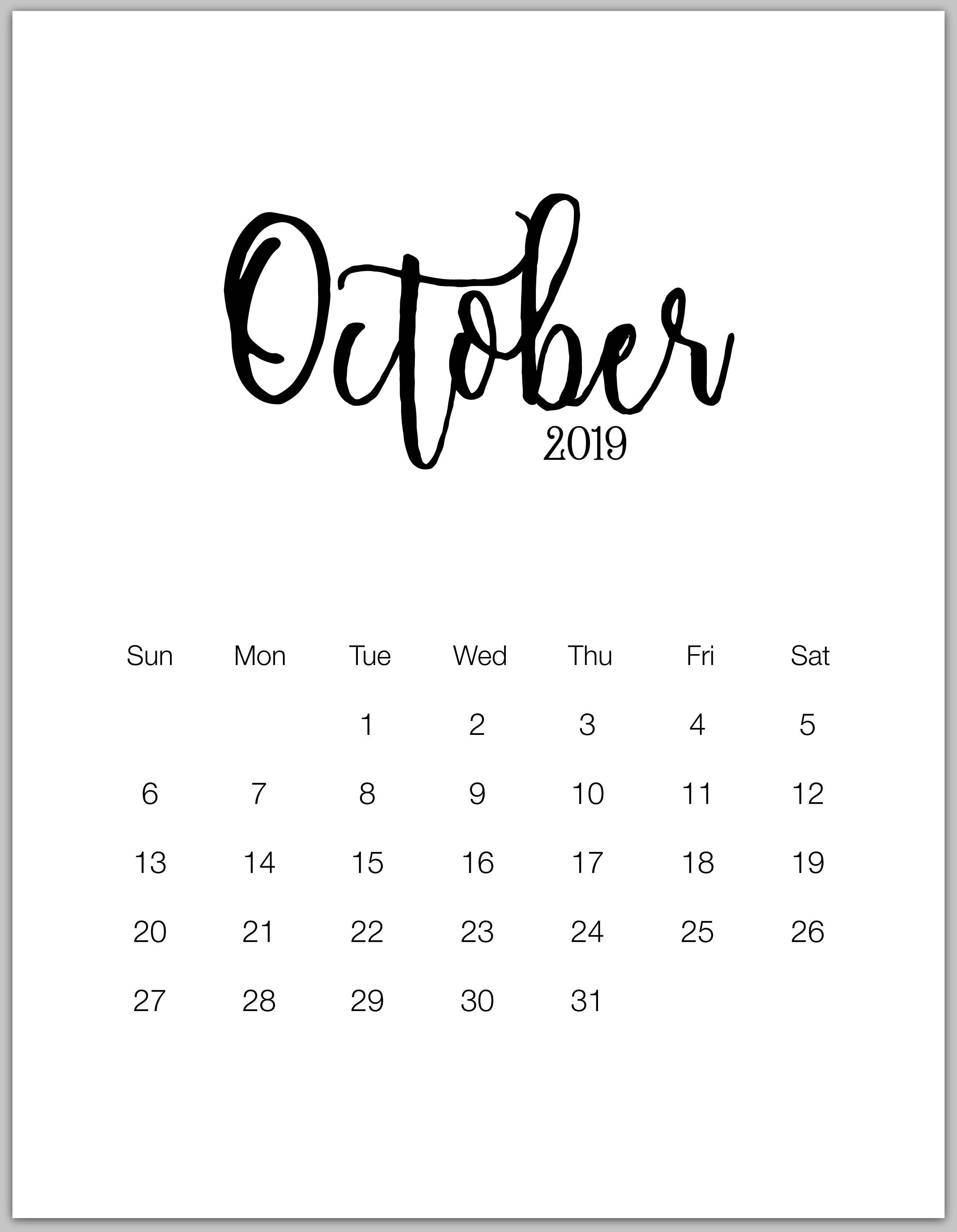 October Minimalist Calendar