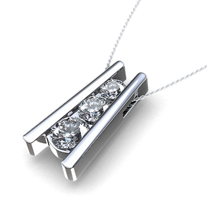 present necklace past bling diamond pendant future pk three jewelry silver cz stone sterling